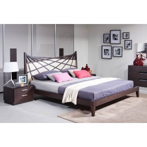 Modrest Prism Modern Brown & Beige Bonded Leather Bed