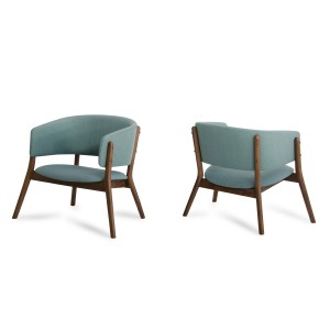 Modrest Dante Modern Blue Fabric & Walnut Accent Chair