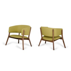 Dante - Modern Gold & Walnut Accent Chair (Set of 2)