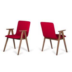 Maddox - Modern Red & Walnut Dining Chair (Set of 2)