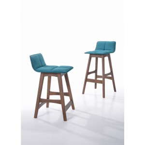 Candice - Modern Teal & Walnut Bar Stool (Set of 2)
