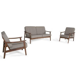 Modrest Ridge Modern Sesame & Walnut Sofa Set