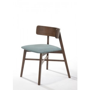 Modrest Travis Modern Blue & Walnut Dining Chair (Set of 2)