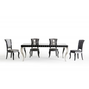 Versus Mia Modern Black Lacquer Dining Table
