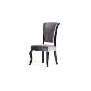 Versus Mia Modern Grey Fabric w/ Black Frame Dining Chair