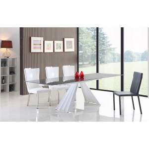 Modrest Milk Modern Extendable Smoked Glass Dining Table