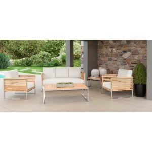 Renava Minorca Outdoor Teak & White Sofa Set