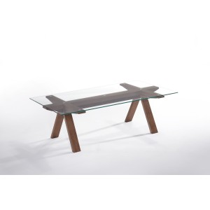 Modrest Maddox Modern Glass & Walnut Coffee Table