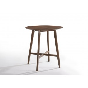 Modrest Candice Modern Round Walnut Bar Table