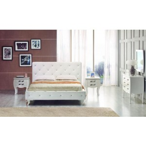 Modrest Monte Carlo - White Leatherette Modern Twin Bed with Crystals