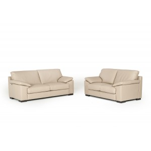 Estro Salotti Morris Modern Taupe Leather Sofa Set
