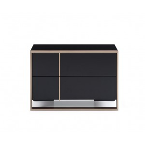 Nova Domus Cartier Modern Black & Brushed Bronze Nightstand
