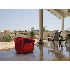 Divani Casa Dana Modern Red Velvet Lounge Chair
