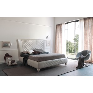 Estro Salotti Nathan Modern White Leather Bed
