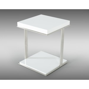 Modrest Optimus Modern White U0026 Stainless Steel End Table