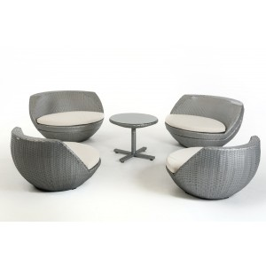 Renava Ovum - Modern Silver Egg Shape Patio Set