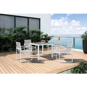 Renava Gulf Outdoor White & Grey Dining Table Set