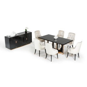 A&X Padua Modern Large Black Crocodile & Rosegold Dining Table