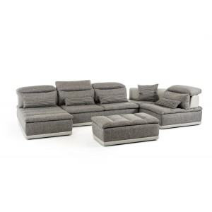 Lusso Panorama Italian Modern Grey Fabric & Grey Leather Sectional Sofa