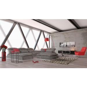 David Ferrari Panorama Italian Modern Grey Fabric and White Leather Sectional Sofa