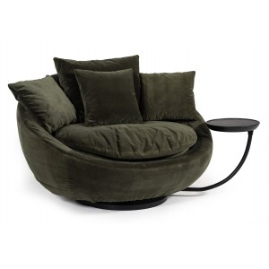 Divani Casa Pascal Modern Round Green Velvet Swivel Lounge Chair