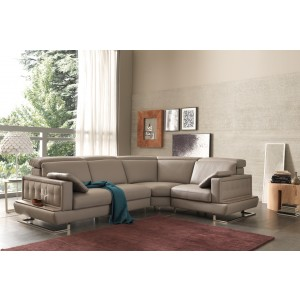 Estro Salotti Pegaso Modern Taupe Leather Sectional Sofa