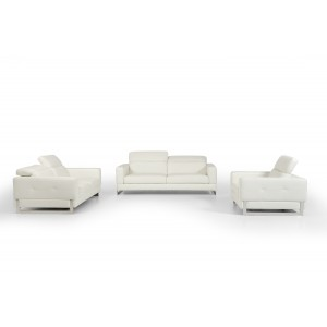 Divani Casa Perth Modern White Leather Sofa Set