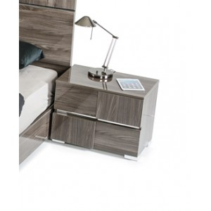 Modrest Picasso Italian Modern Grey Lacquer Nightstand