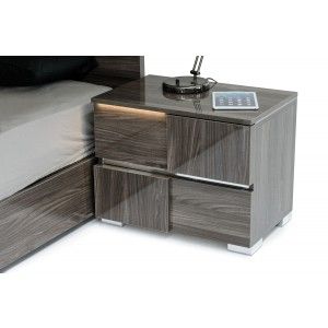 Modrest Picasso Italian Modern Grey Lacquer Nightstand w/ LED Light