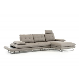 Divani Casa Porter Modern Grey Fabric Sectional Sofa