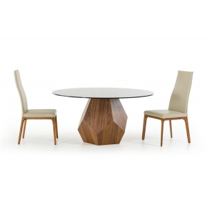 Modrest Rackham Modern Walnut Round Dining Table