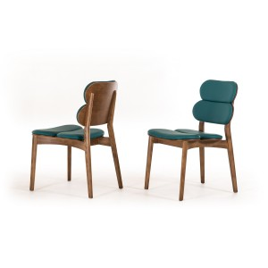 Modrest Raeanne Modern Turquoise & Walnut Dining Chair
