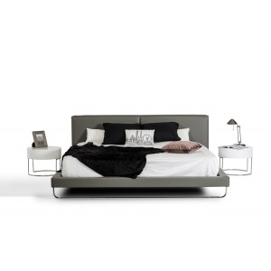 Modrest Ramona Modern Grey Leatherette Bed