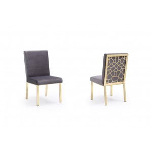 Modrest Reba Modern Grey Velvet & Gold Dining Chair (Set of 2)