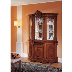 Regina Traditional Walnut 3-Door China Cabinet