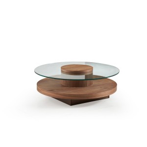 Modrest Hector Modern Round Walnut Coffee Table