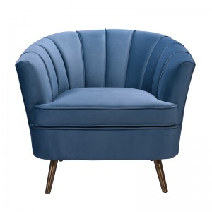 Divani Casa Vaughn Modern Blue Velvet Accent Chair
