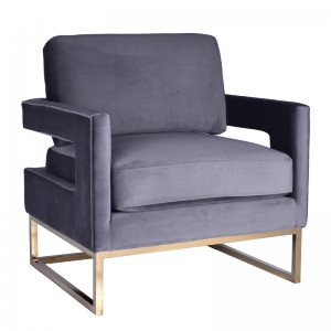 Modrest Edna Modern Grey Velvet & Gold Accent Chair