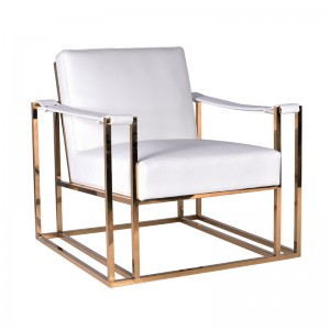 Modrest Larson Modern White Leatherette & Gold Accent Chair