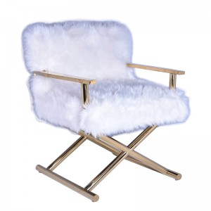 Modrest Corley Modern White Faux Fur & Gold Accent Chair