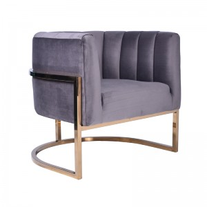 Modrest Landau Modern Grey Velvet & Gold Accent Chair