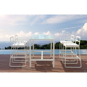 Renava Rita Outdoor White Bar Table Set