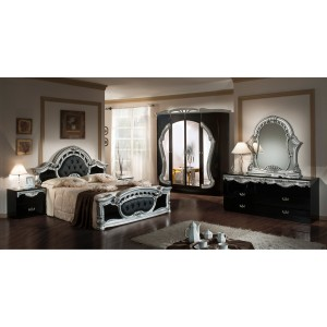 Modrest Rococo - Italian Classic Black-Silver Bedroom Set