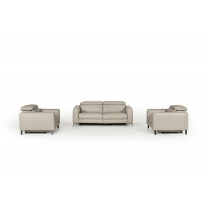 Divani Casa Roslyn Modern Grey Leather Sofa Set w/ Recliners