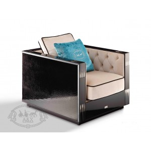 A&X Bellagio Transitional Black Crocodile and Beige Fabric Lounge Chair