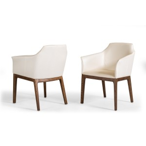 Modrest Ryder Modern Cream & Walnut Dining Chair