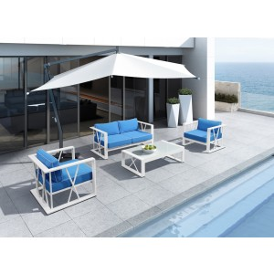 Renava Palms Outdoor Blue & White Sofa Set