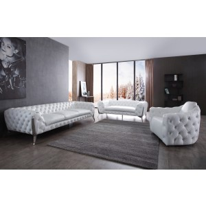 Divani Casa Catania Transitional White Leatherette & Stainless Steel Sofa Set