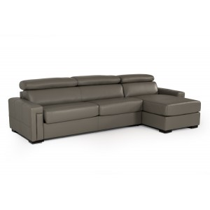 Estro Salotti Sacha Modern Dark Grey Leather Reversible Sofa Bed Sectional w/ Storage