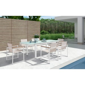 Renava Sago Outdoor White Dining Table Set